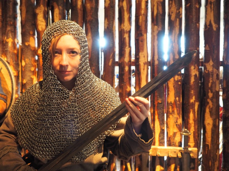 Lovely Leigh in a surprisingly heavy chain mail hood