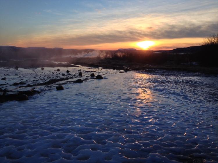 geysir-winter-iceland-sunset